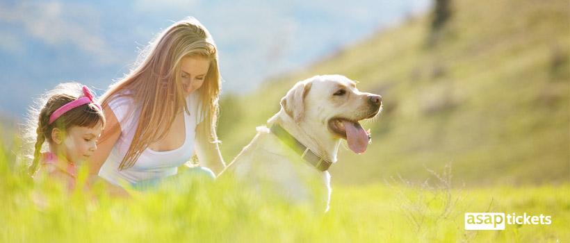 Dog outside with a girls - ASAPtickets Travel Guide   Pet Quarantine Australia