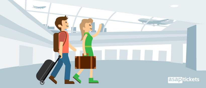 Book multi-city flights - Flat design, couple at the airport - ASAPtickets Blog | Travel Guide