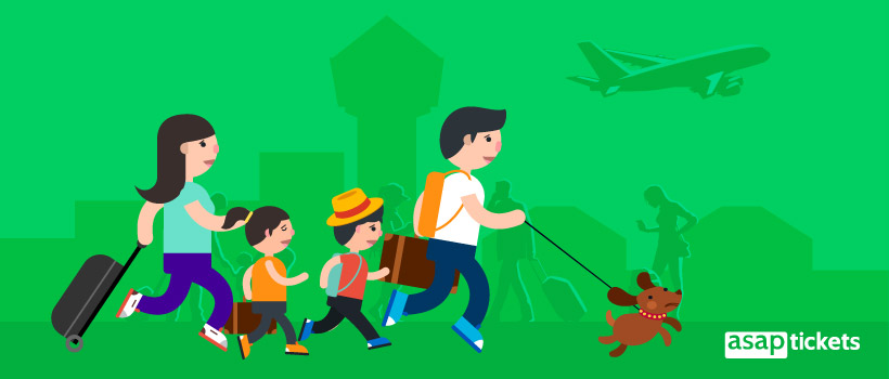 Book multi-city flights - Flat design, family in a rush at the airport - ASAPtickets Blog | Travel Guide