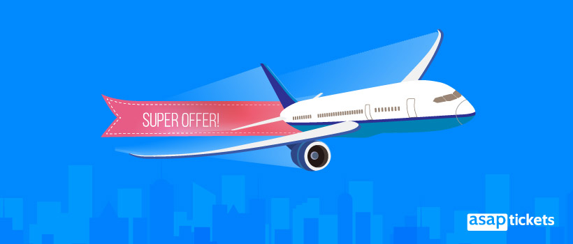 """Airplane with a """"Flight super offer"""" banner in flat design - ASAPtickets"""