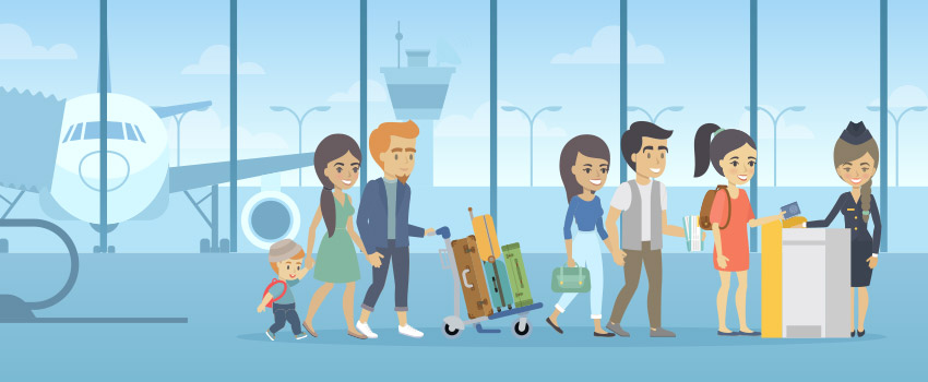 Happy family at the airport, standing in the TSA preckeck lane -in flat design - ASAPtickets travel guide