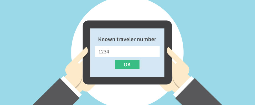 Tablet with Known traveler number field displayed in flat design - ASAPtickets travel guide