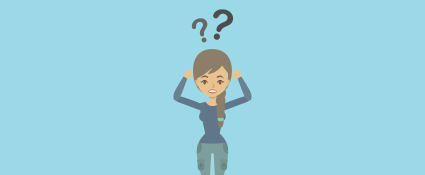 Woman with question marks above her head in flat design - ASAPtickets Travel guide