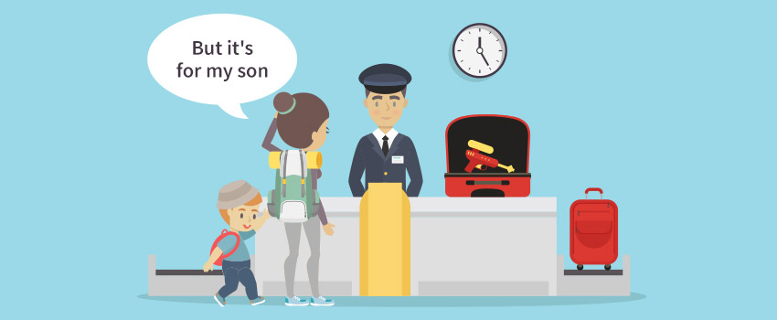 Woman at security check with her son and a Water Gun in bag - ASAPtickets travel guide