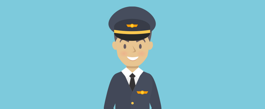 Airplane's captain in flat design - ASAPtickets travel blog