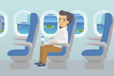 Scared guy on a plane created in flat design - ASAPtickets travel guide