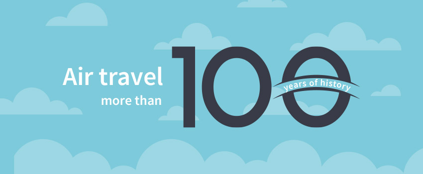 Picture of air travel 100 years of history created in flat design - ASAPtickets travel blog