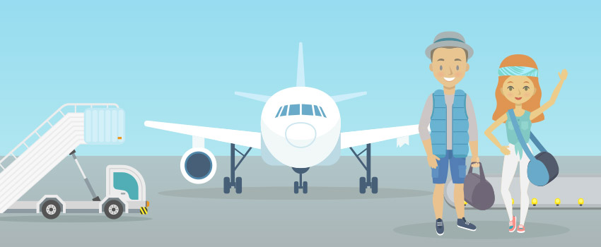 People getting on the plane at the airport created in flat design - ASAPtickets travel blog