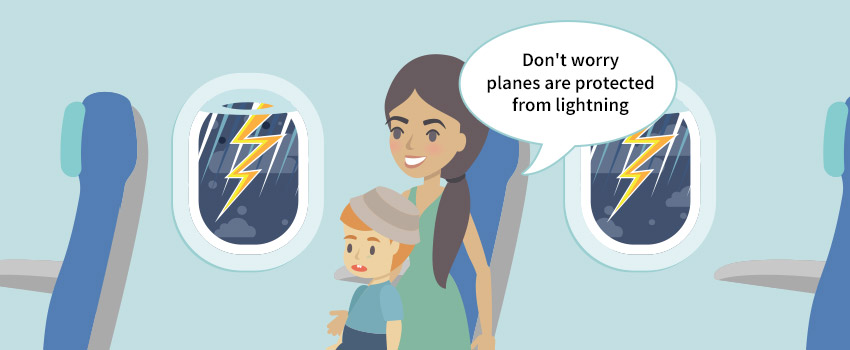 Mother with a kid on a plane with a storm outside created in flat design - ASAPtickets travel blog