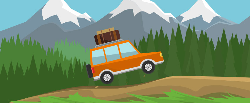 Old school car on a bumpy road near mountains created in flat design - ASAPtickets travel blog