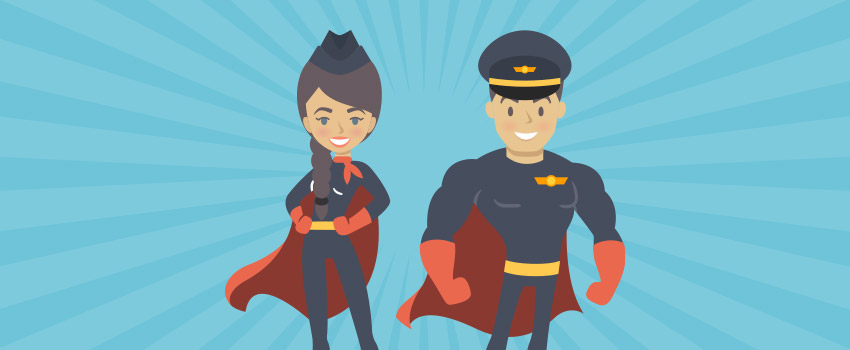 Flight attendants as superheroes in flat design - ASAPtickets travel blog