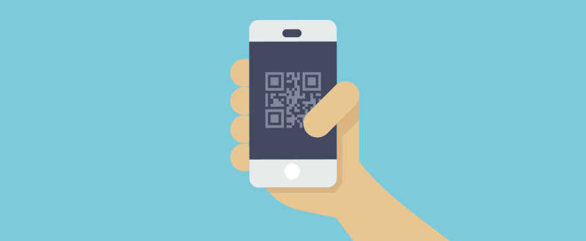 Phone with a mobile boarding pass / QR code displayed in flat design - ASAPtickets travel blog