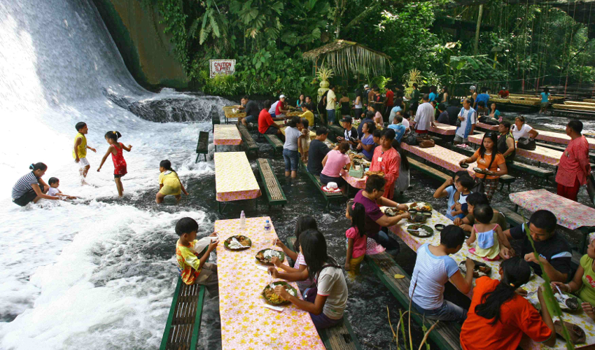 Waterfall restaurant Villa Escudero - Fun Things To Do in The Philippines