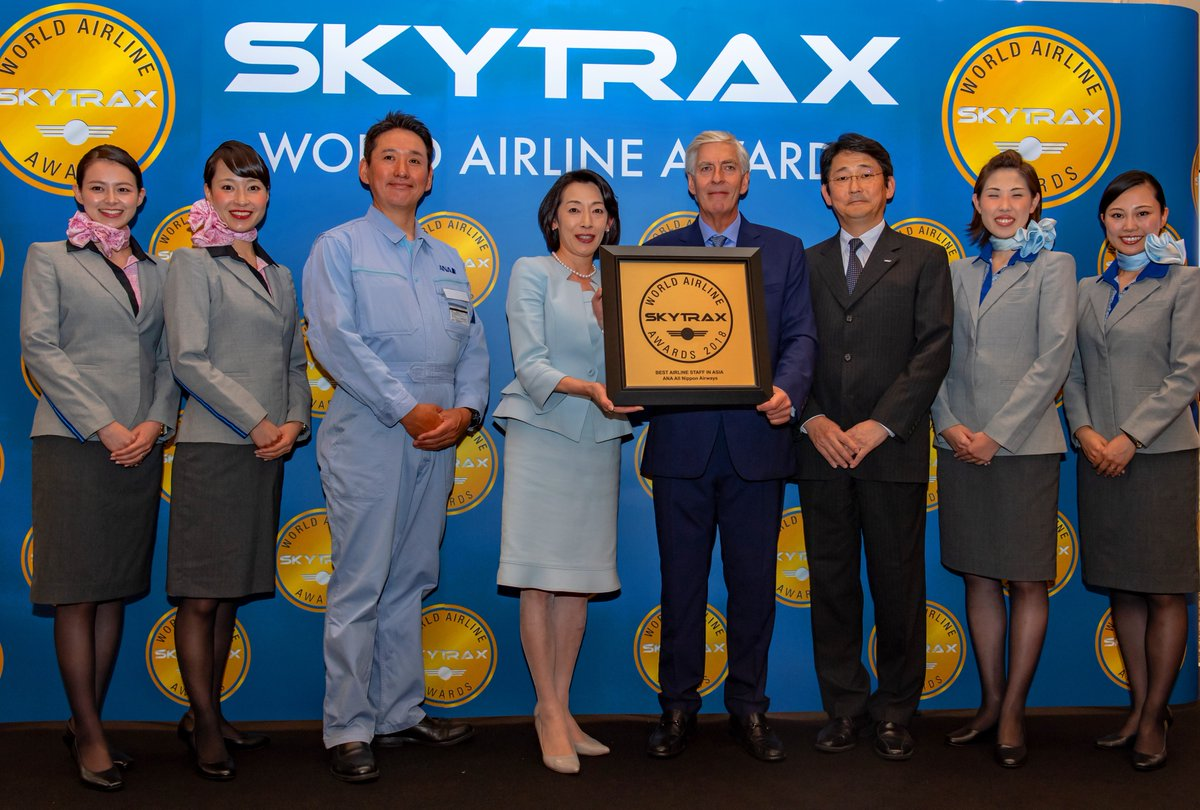 ANA All Nippon Airways receives the World's Best AIrline Cabin Cleanliness and Best Airline Staff in Asia 2018 - World Airline Awards 2018 - Skytrax Airline Awards 2018