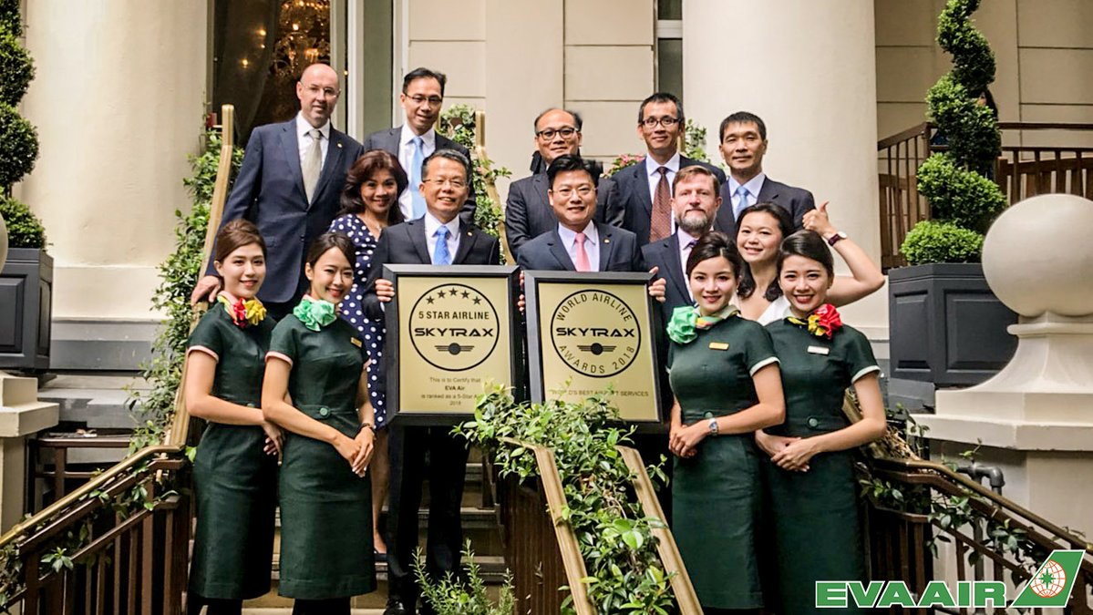 EVA Air receives the World's Best Airport Services and 5th Place in the World's Top 10 Airlines - World Airline Awards 2018 - Skytrax Airline Awards 2018
