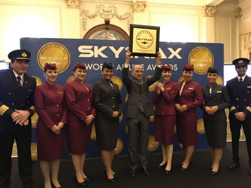 Qatar Airways receives the Best Airline in the Middle East Award - World Airline Awards 2018