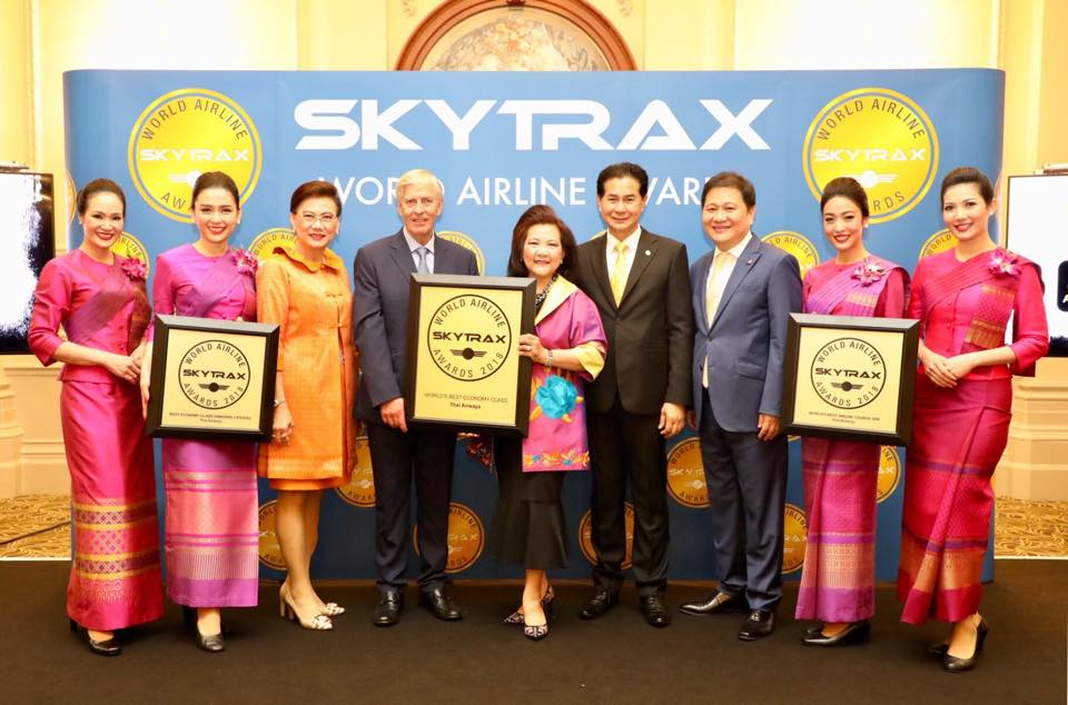 Thai Airways receives the World's Best Economy Class, the World's Best Airline Lounge Spa, and the Best Economy Class Onboard Catering - World Airline Awards 2018 - Skytrax Airline Awards 2018