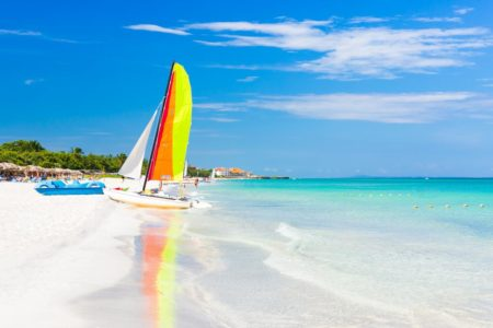 Sail boat at Varadero Beach, Cuba, the Caribbean