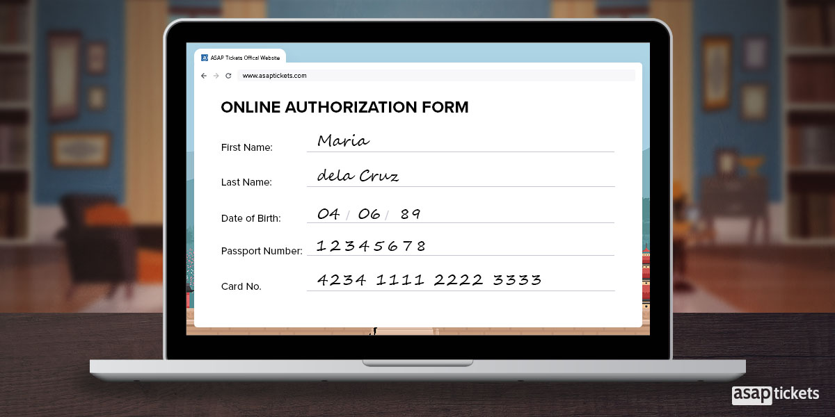 An Online Authorization Form for flights/travel - How to use a travel agent - Book with ASAP Tickets Travel Agency