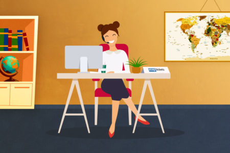 A female travel agent sitting at a desk wearing a headset with a computer and a world map in the background. How to use a travel agent - Book with ASAP Tickets Travel Agency