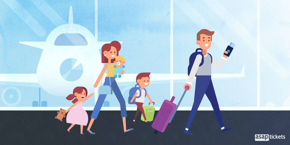 A happy family of four at the airport boarding gate ready to board their airplane for a vacation. - How to use a travel agent - Book with ASAP Tickets Travel Agency