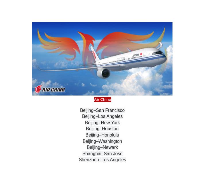 Air China non-stop flights