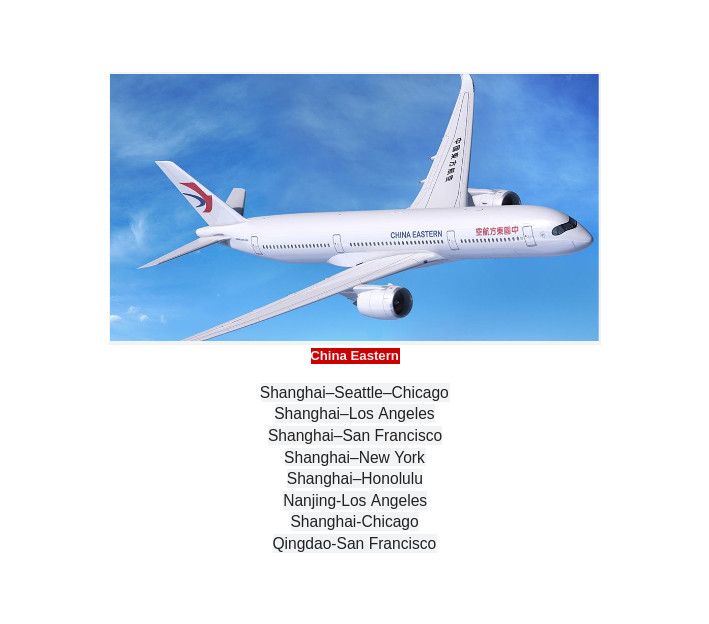 China Eastern Airlines non-stop flights