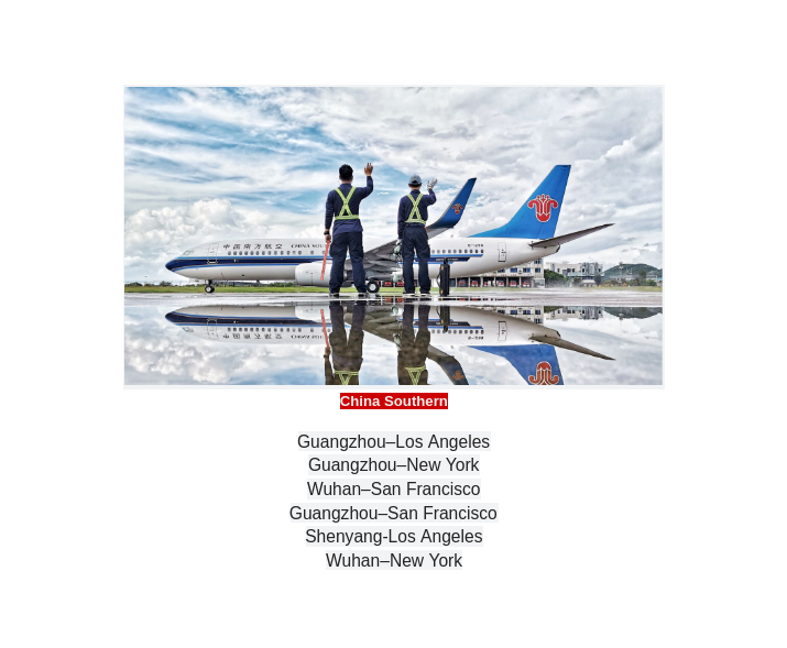 China Southern Airlines non-stop flights
