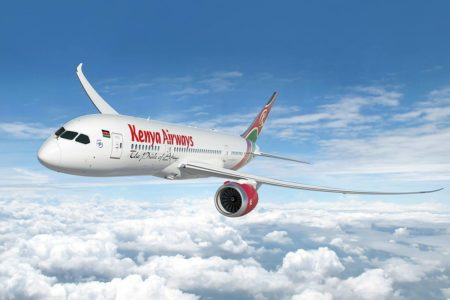 Flying with Kenya Airways.